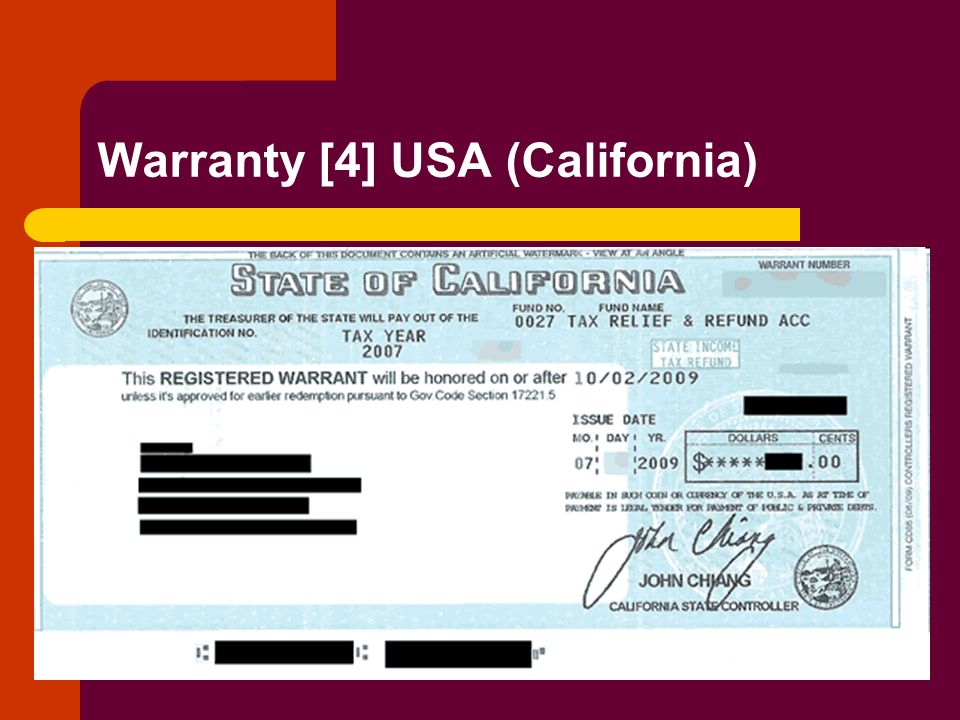Warranty [4] USA (California)